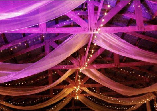 Wedding decorations in the barn loft at Sassafras Springs wedding barn